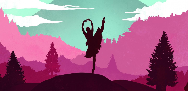 Tornerose-plakat, ballettdanser mot horisont