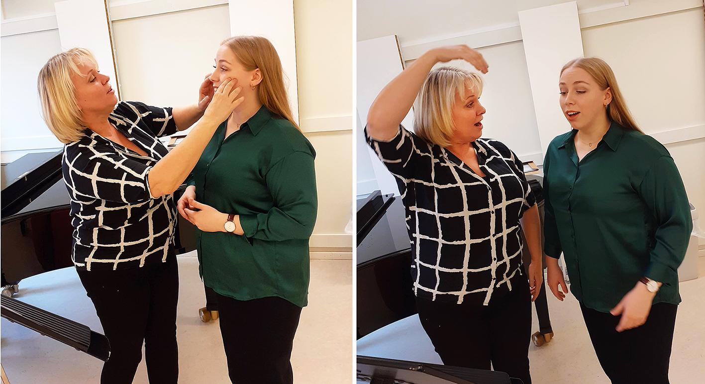 Solveig Kringlebotn og Kristine Borge øver.