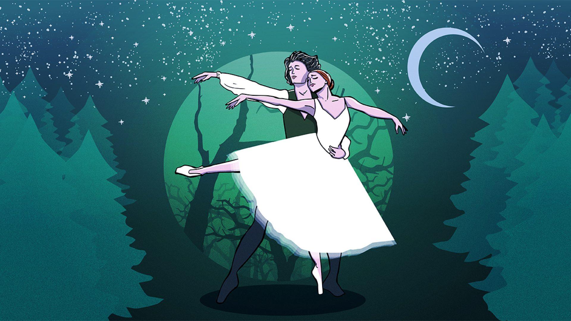 Dansende Giselle og adelsmannen Albrecht som tegninger.